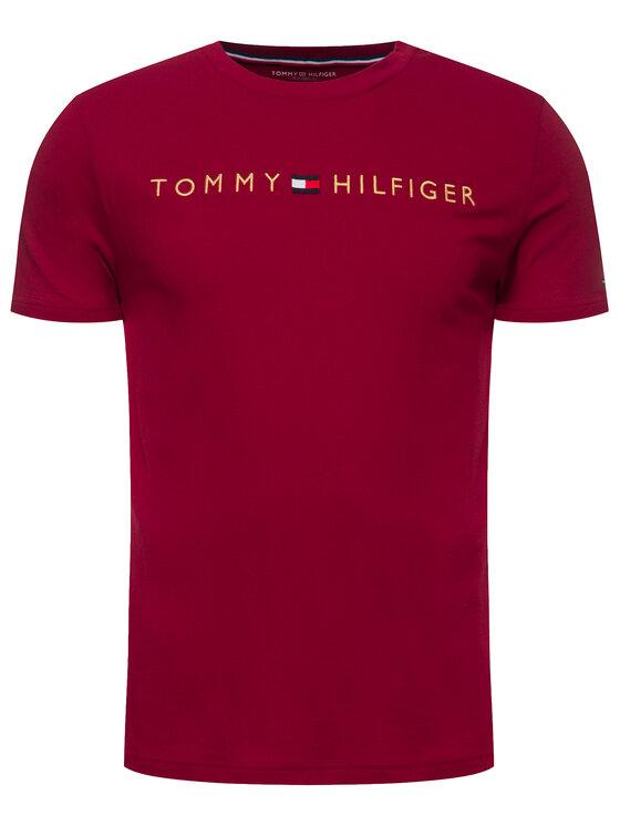 Tommy Hilfiger Tommy Hilfiger Tričko Logo Gold UM0UM01679 Bordová Regular Fit