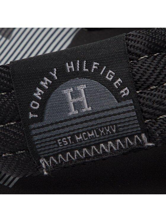 Tommy Hilfiger Tommy Hilfiger Šlepetės per pirštą Woven Label Beach Sandal FM0FM01932 Juoda