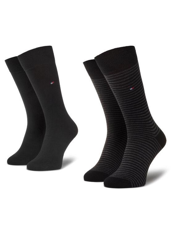 TOMMY HILFIGER TOMMY HILFIGER Súprava 2 párov vysokých pánskych ponožiek 342029001 Čierna