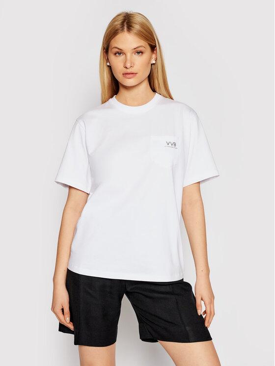 Victoria Victoria Beckham Marškinėliai Pocket Logo 2221JTS002554A Balta Regular Fit