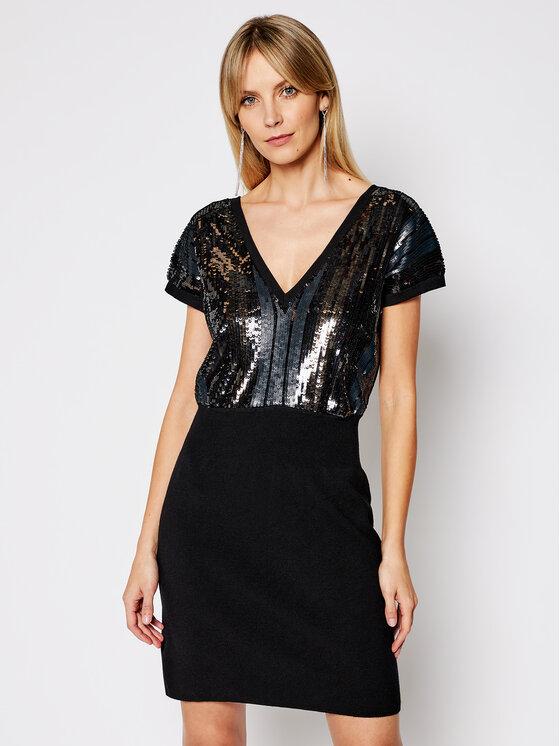 My Twin Kokteilinė suknelė 202MP3042 Juoda Slim Fit