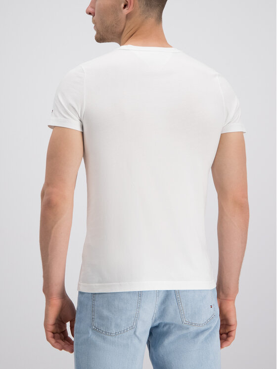 Tommy Hilfiger Tommy Hilfiger T-shirt Stripe Logo MW0MW10830 Blanc Regular Fit