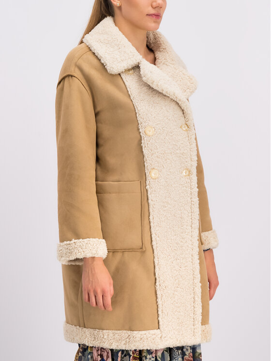 My Twin My Twin Παλτό χειμωνιάτικο 192MT2020 Μπεζ Regular Fit