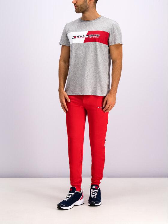 Tommy Sport Marškinėliai Flag Graphics S20S200197 Pilka Regular Fit