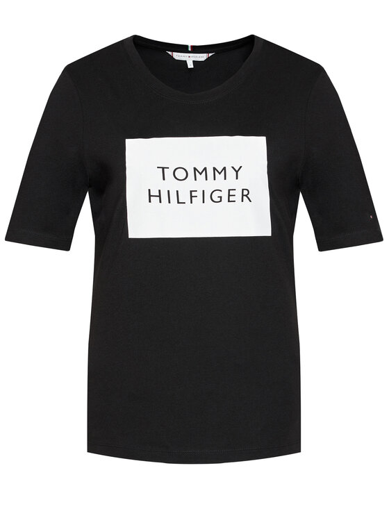Tommy Hilfiger Tommy Hilfiger Тишърт Box C-Nk WW0WW30986 Черен Regular Fit