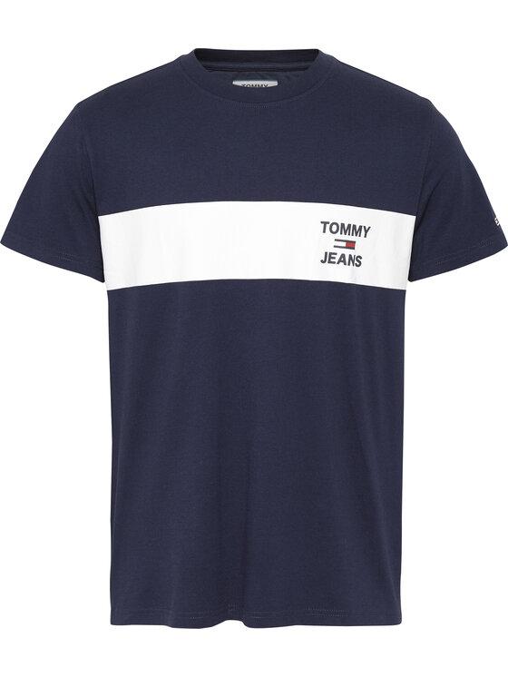 Tommy Jeans Tommy Jeans Marškinėliai Chest Stripe Logo Tee DM0DM07858 Tamsiai mėlyna Regular Fit