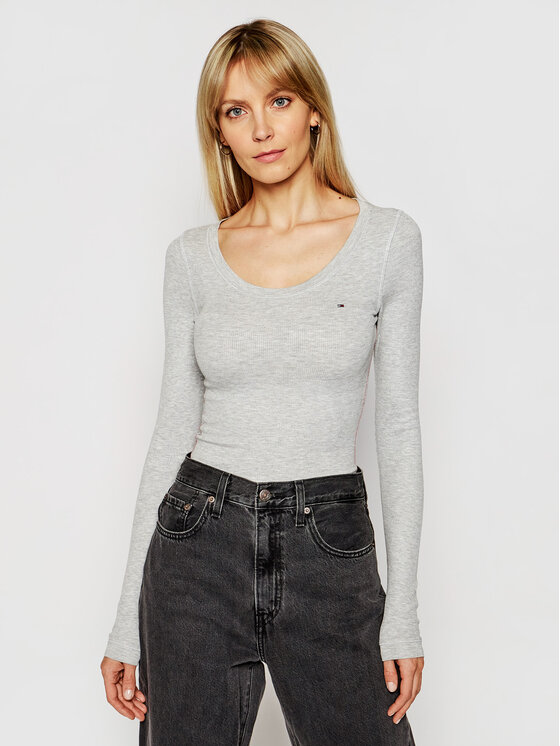 Tommy Jeans Tommy Jeans Bluse Tjw Original DW0DW04708 Grau Regular Fit