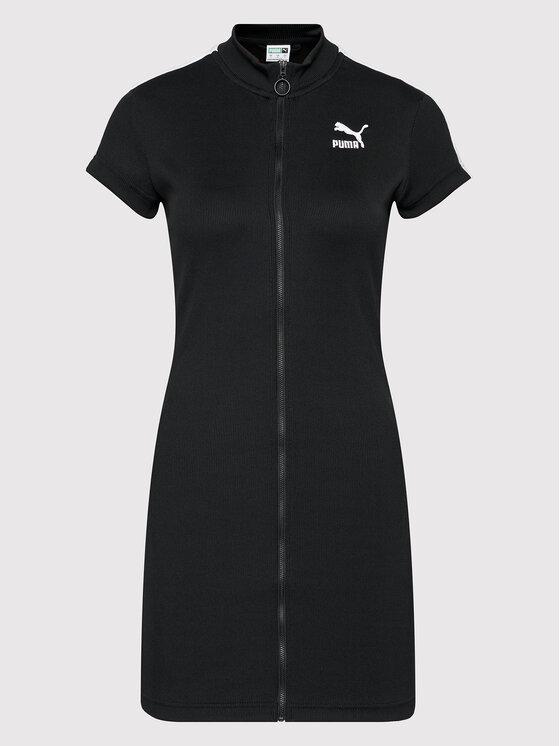 Puma Puma Džemper haljina Classics Tight Ribbed 597647 Crna Slim Fit