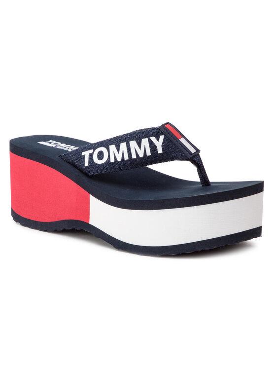 Tommy Jeans Tommy Jeans Tongs Colorblock Flatform Beach Sandal EN0EN00469 Bleu marine