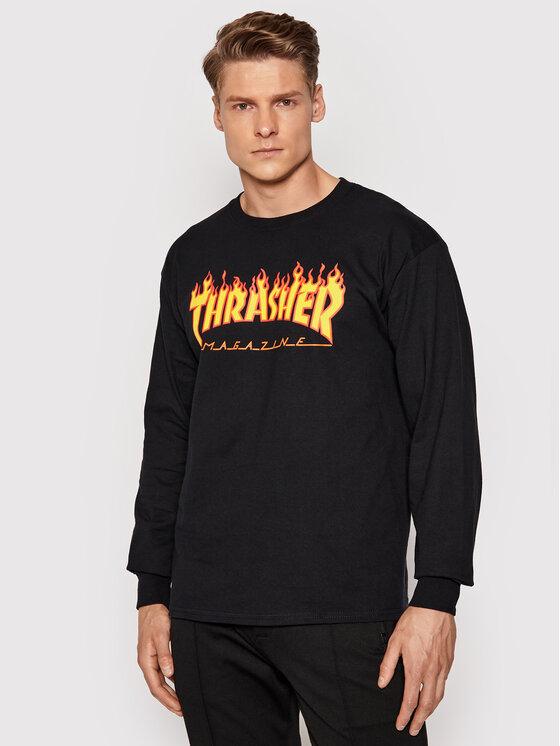 Thrasher Marškinėliai ilgomis rankovėmis Flame Juoda Regular Fit