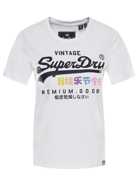 Superdry Superdry Тишърт Premium Goods Puff G10306AU Бял Regular Fit