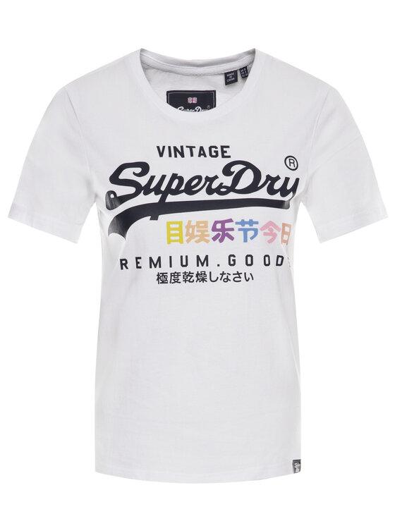 Superdry Superdry Tričko Premium Goods Puff G10306AU Biela Regular Fit