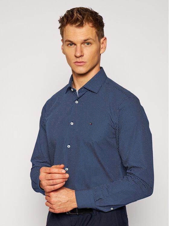 Tommy Hilfiger Tailored Marškiniai Poplin Print 2 Color TT0TT08202 Tamsiai mėlyna Slim Fit