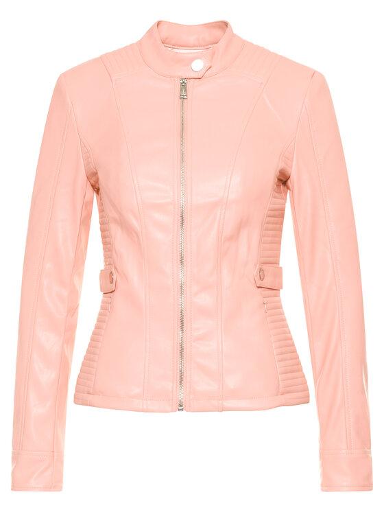Guess Guess Kožená bunda Tammy W02L20 WAEI0 Růžová Regular Fit