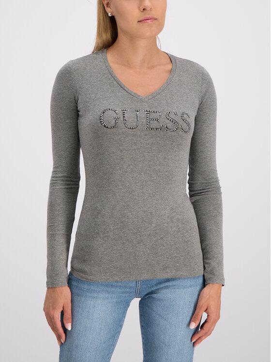 Guess Guess Блуза W93I70 J1300 Сив Slim Fit