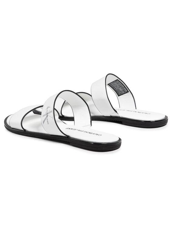 Calvin Klein Jeans Calvin Klein Jeans Șlapi Flat Sandal Twostraps Lth YW0YW00026 Alb