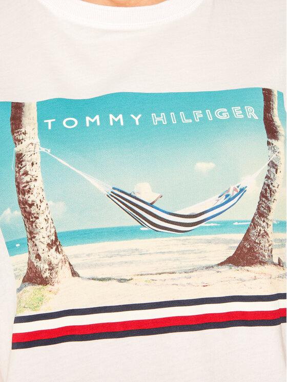 TOMMY HILFIGER TOMMY HILFIGER T-Shirt Beach Print WW0WW25178 Λευκό Regular Fit