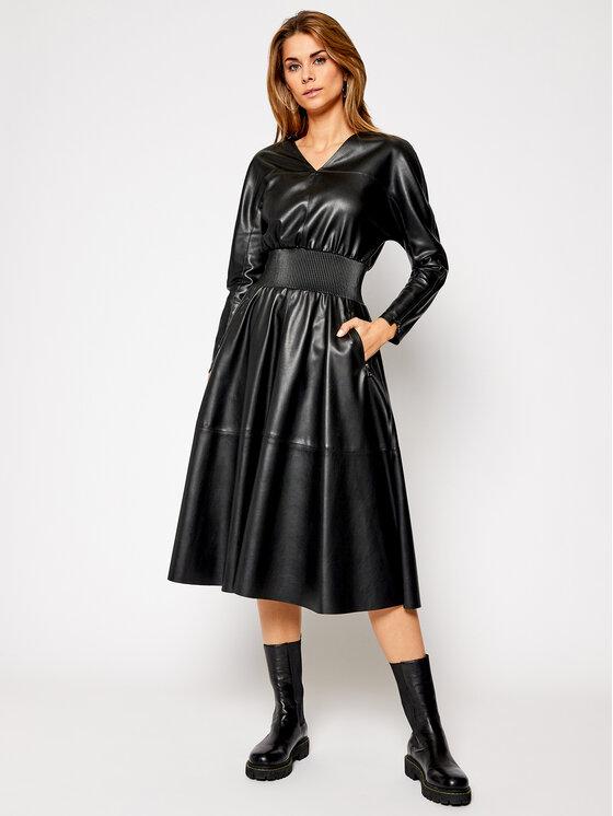 KARL LAGERFELD Sukienka skórzana Faux Leather 206W1903 Czarny Waisted Fit