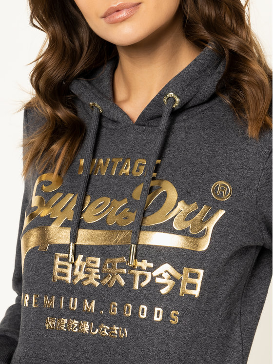 Superdry Superdry Bluză Premium Goods Classic Entry Hood W2000085A Gri Regular Fit