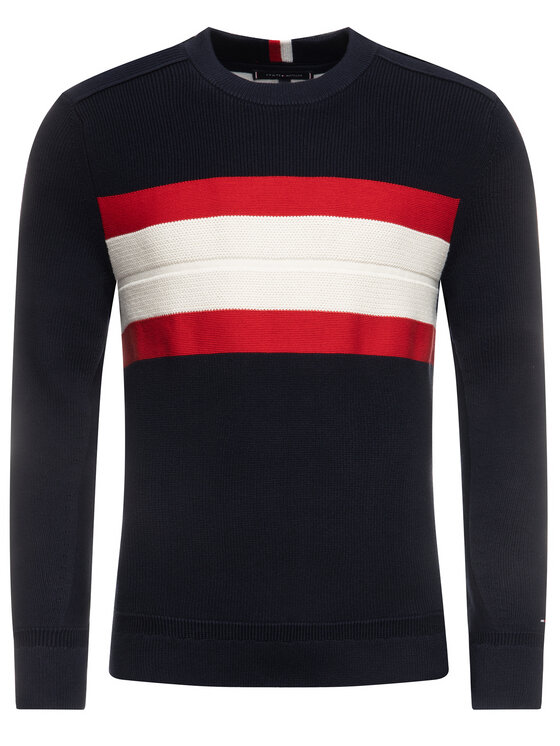 TOMMY HILFIGER TOMMY HILFIGER Maglione Ribbed Chest Stripe MW0MW12263 Blu scuro Relaxed Fit