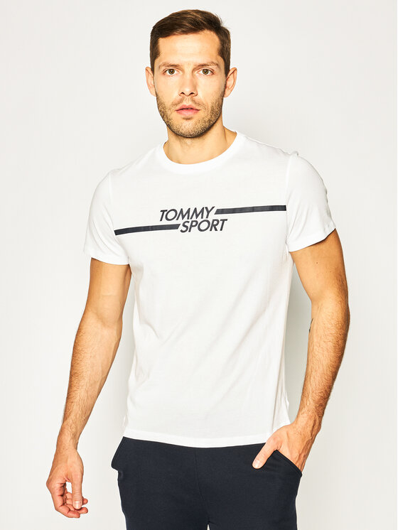 Tommy Sport Marškinėliai Core Chest Graphic S20S200444 Balta Regular Fit