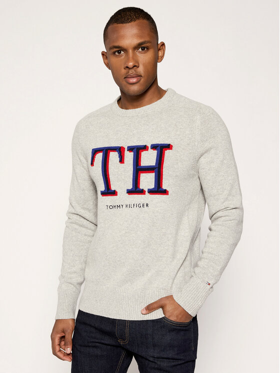 TOMMY HILFIGER TOMMY HILFIGER Sveter Monogram Graphic MW0MW11689 Sivá Relaxed Fit