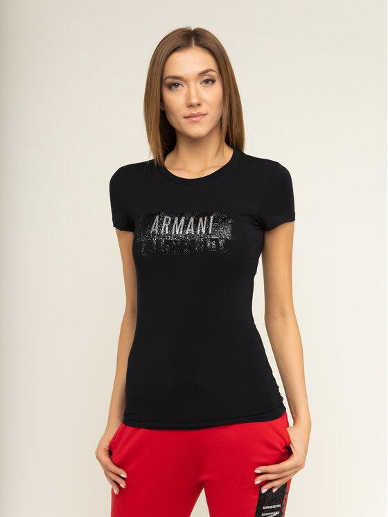 Armani Exchange Armani Exchange Marškinėliai 6GYT91 YJC7Z 1200 Juoda Slim Fit