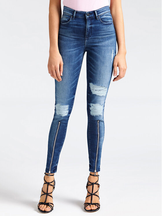 Guess Guess Jeansy 1981 Front Zip W93A54 D3IP1 Tmavomodrá Skinny Fit