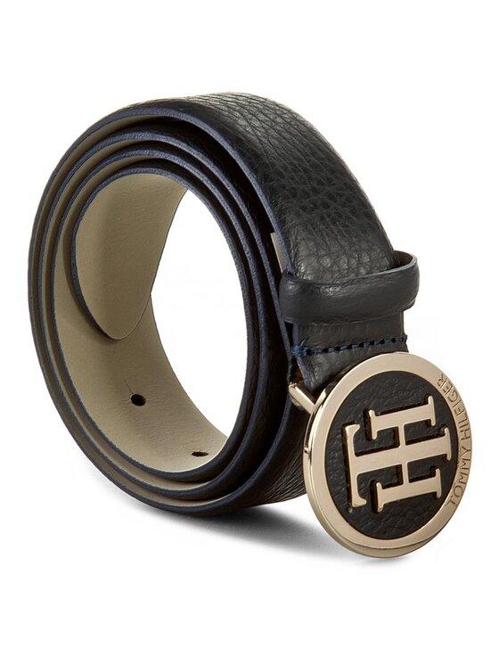 Tommy Hilfiger Tommy Hilfiger Cintura da donna Th Round Buckle Belt 3.0 AW0AW01367 75 Blu scuro