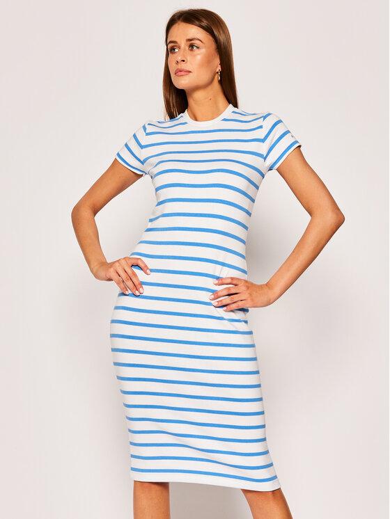 Polo Ralph Lauren Sukienka dzianinowa Pima 211795063002 Biały Slim Fit