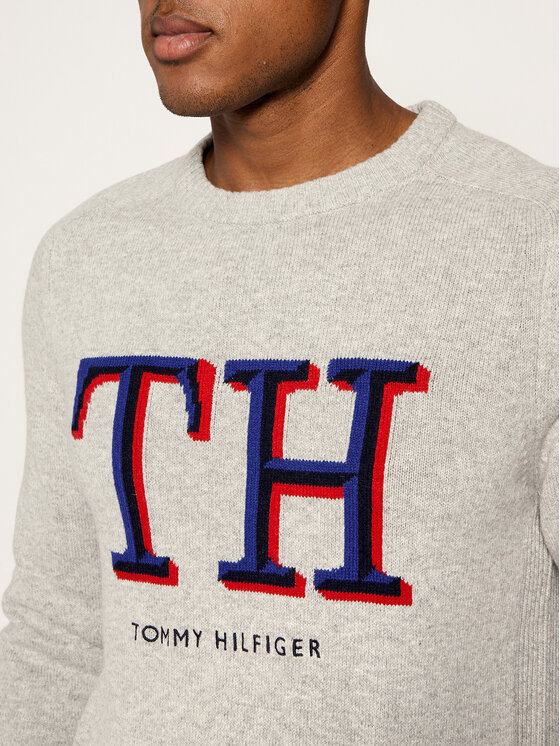 Tommy Hilfiger Tommy Hilfiger Pulover Monogram Graphic MW0MW11689 Gri Relaxed Fit