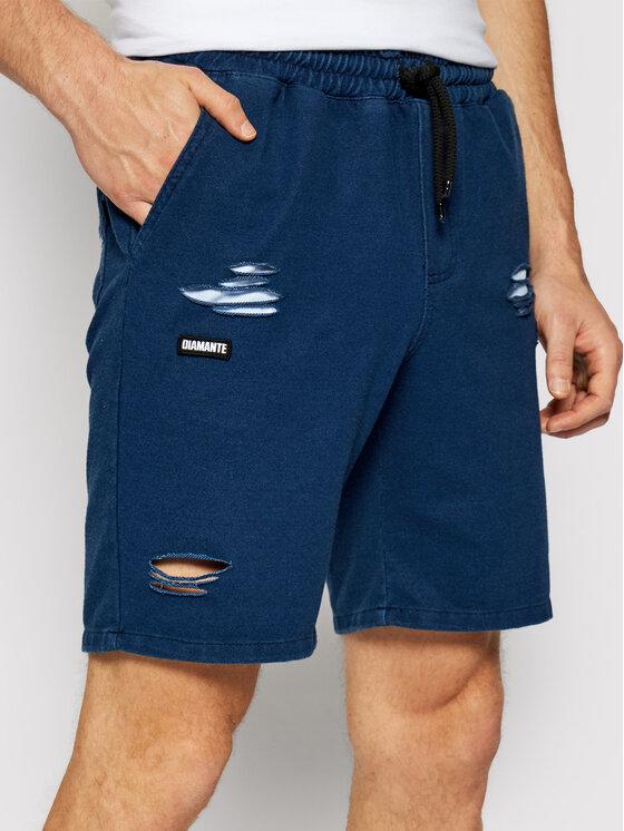 Diamante Wear Medžiaginiai šortai Unisex Ripped 5505 Mėlyna Regular Fit