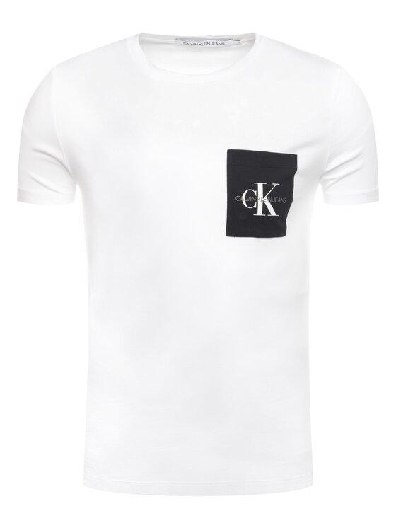 Calvin Klein Jeans Calvin Klein Jeans Tričko Poche Monogram J30J314070 Biela Slim Fit
