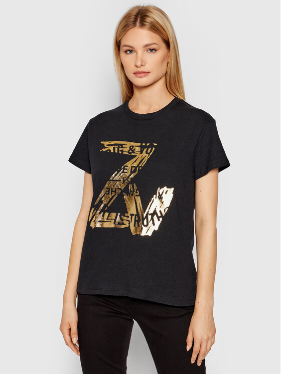 Zadig&Voltaire Marškinėliai Zoe New Blason WKTT1801F Juoda Regular Fit