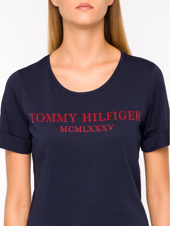 Tommy Hilfiger Tommy Hilfiger Tričko Kristal WW0WW25912 Tmavomodrá Regular Fit