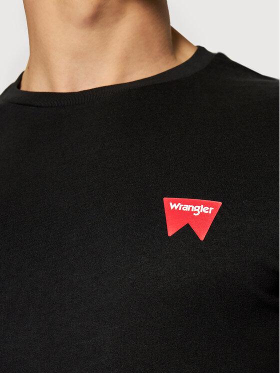 Wrangler Wrangler T-Shirt Sign Off Tee W7C07D301 Czarny Regular Fit