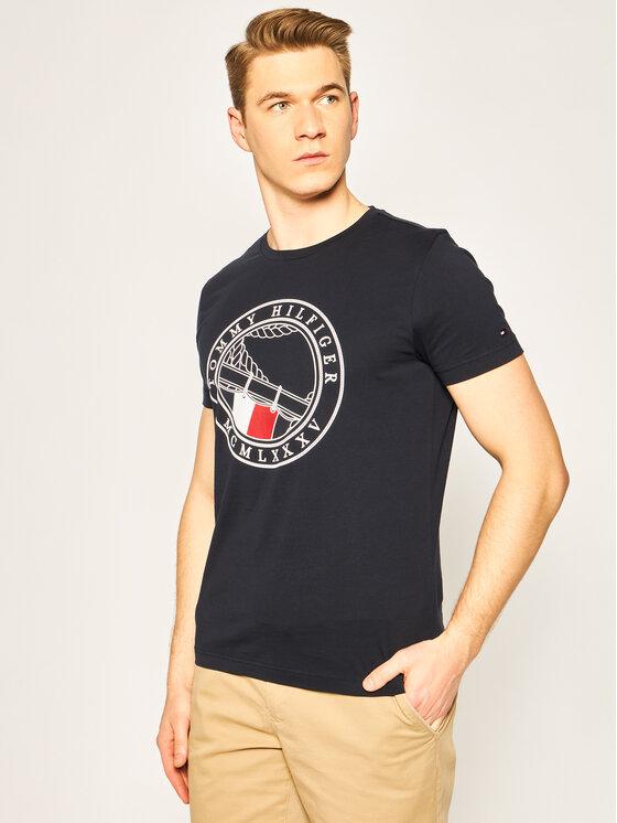 Tommy Hilfiger Tommy Hilfiger T-Shirt Round Naval Tee MW0MW13334 Granatowy Regular Fit