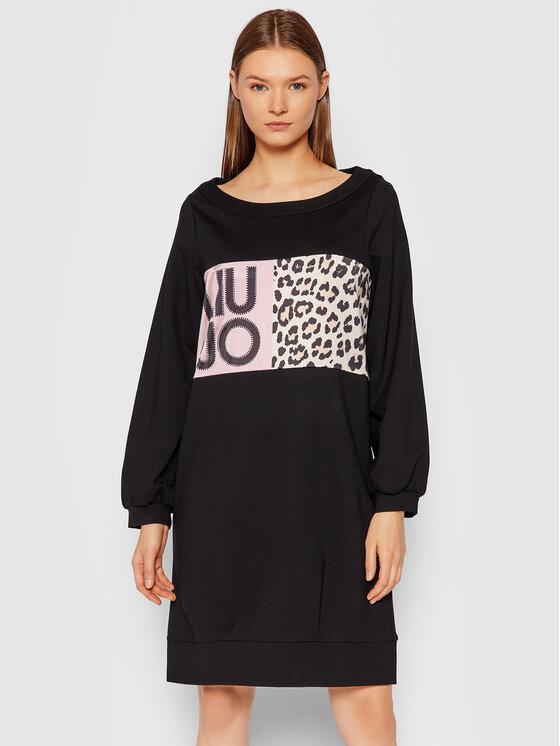 Liu Jo Liu Jo Džemper haljina 5F1093 J6264 Crna Relaxed Fit