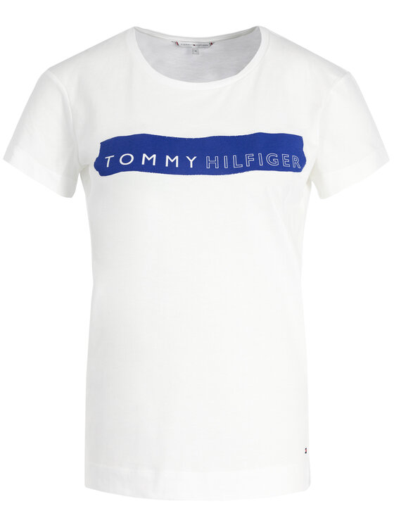 Tommy Hilfiger Tommy Hilfiger Marškinėliai Bille Round WW0WW25177 Balta Regular Fit