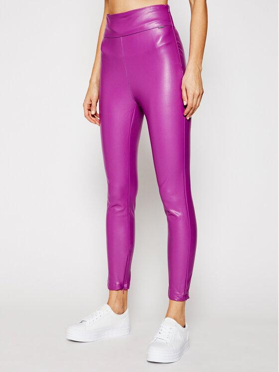 Guess Guess Pandaloni de piele Priscilla W1RB25 WBG60 Violet Slim Fit