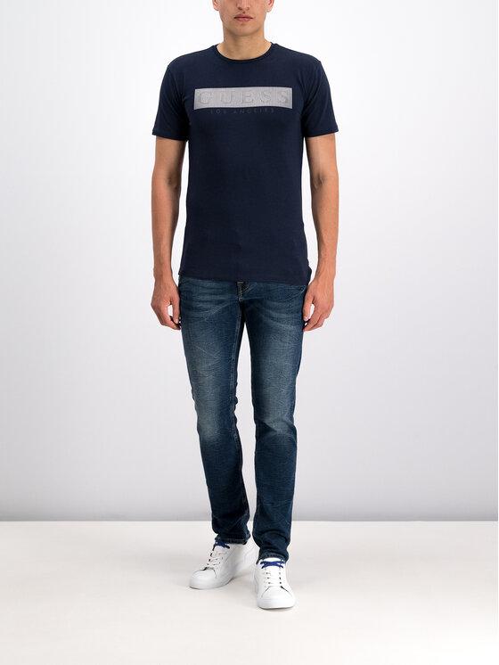 Guess Guess T-Shirt M93I36 J1300 Granatowy Super Slim Fit