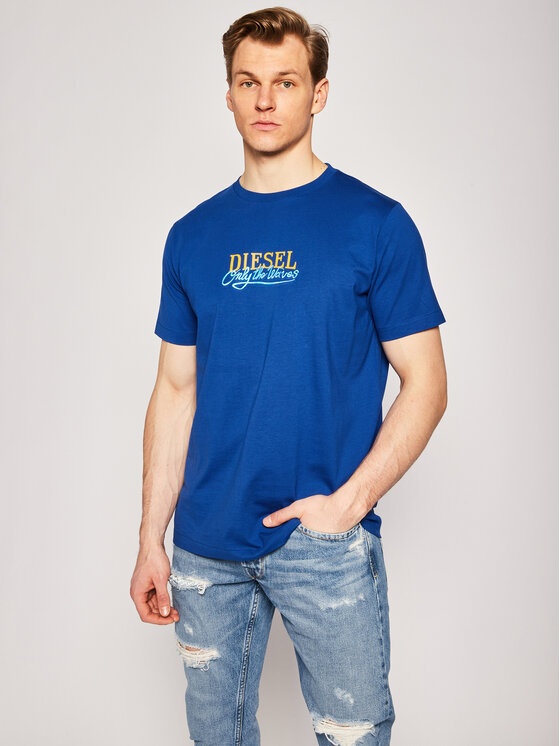 Diesel T-Shirt Just 00ST5I 0HAXV Granatowy Regular Fit