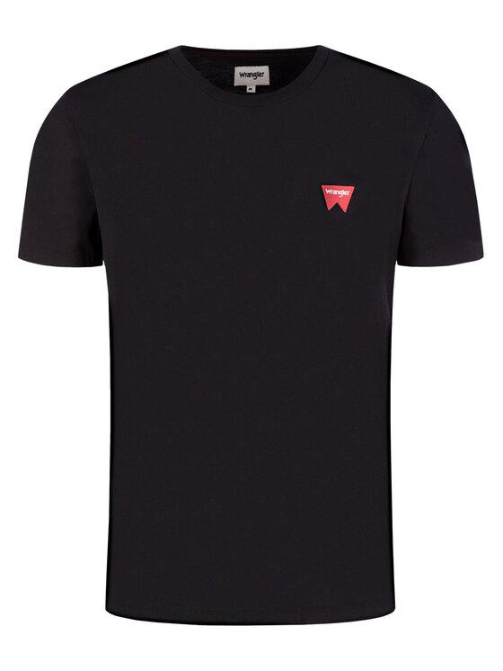 Wrangler Wrangler Marškinėliai Sign Off Tee W7C07D301 Juoda Regular Fit