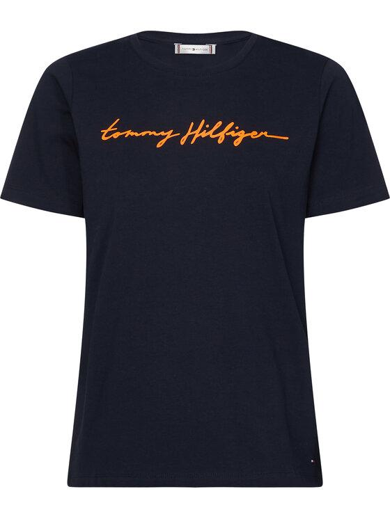 Tommy Hilfiger Tommy Hilfiger Marškinėliai Alissa WW0WW27136 Tamsiai mėlyna Regular Fit