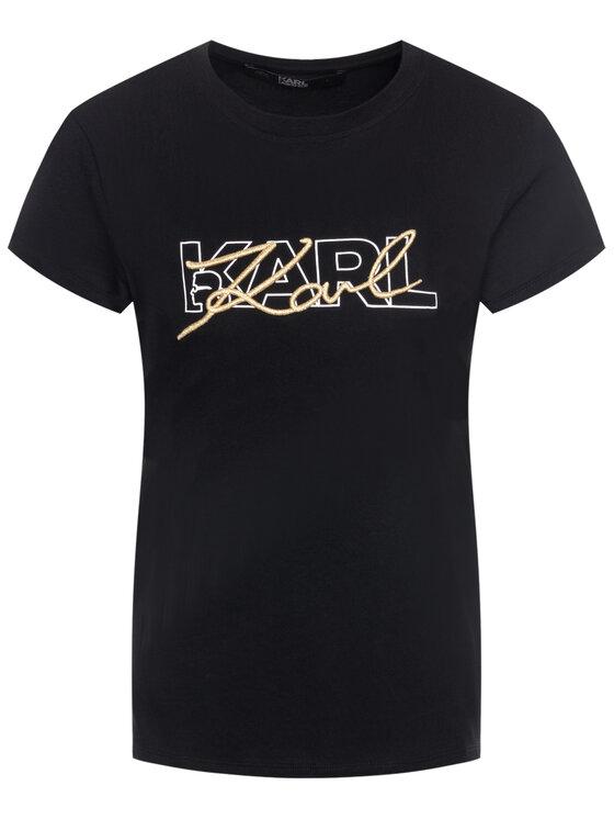 KARL LAGERFELD KARL LAGERFELD Marškinėliai Double Logo 96KW1709 Juoda Regular Fit