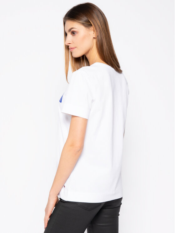 Tommy Hilfiger Tommy Hilfiger T-shirt Bille Round WW0WW25177 Bianco Regular Fit