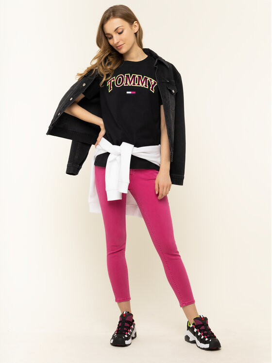 Tommy Jeans Tommy Jeans T-Shirt Tjw Neon Collefiate Tee DW0DW07540 Μαύρο Regular Fit