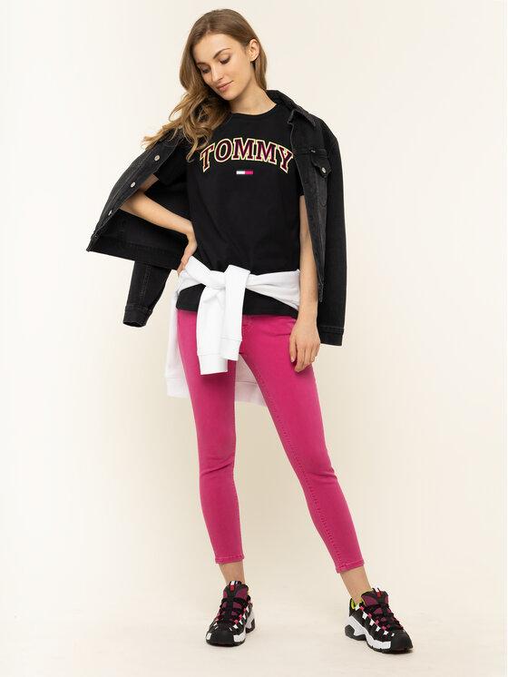 Tommy Jeans Tommy Jeans Tričko Tjw Neon Collefiate Tee DW0DW07540 Čierna Regular Fit