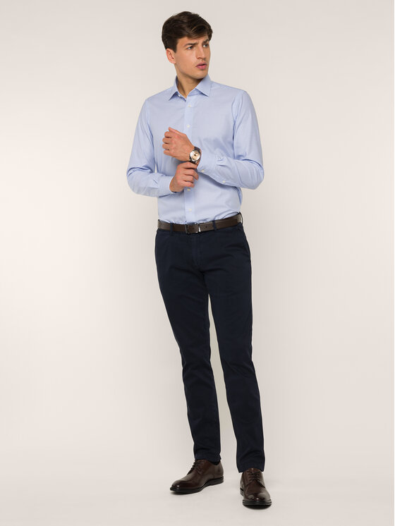 Emanuel Berg Emanuel Berg Marškiniai MCR37 Mėlyna Slim Fit