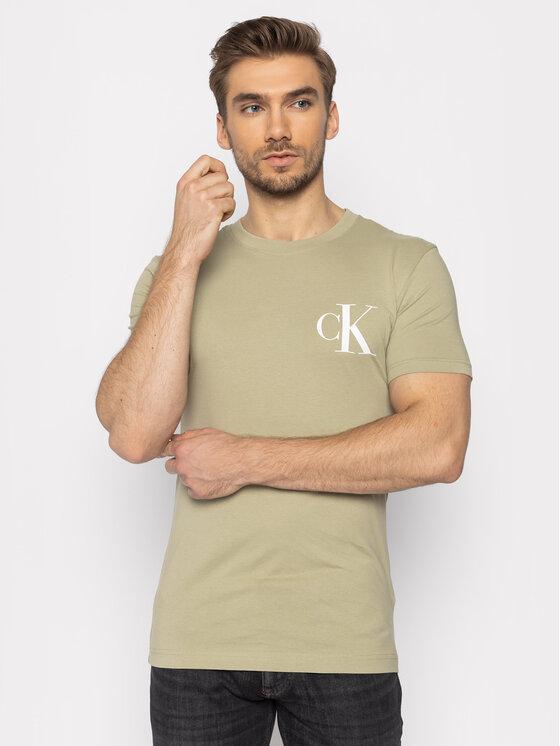 Calvin Klein Jeans Calvin Klein Jeans T-Shirt Instit Back Pop Logo J30J315175 Zielony Regular Fit